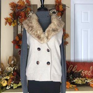Women's beige fux fur vest